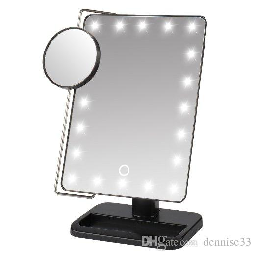 Led Makeup Mirror Make Up Stand For Desk With 10x Magnify  Small Round Color Gift Box Retail Packing Large Bathroom Mirrors
