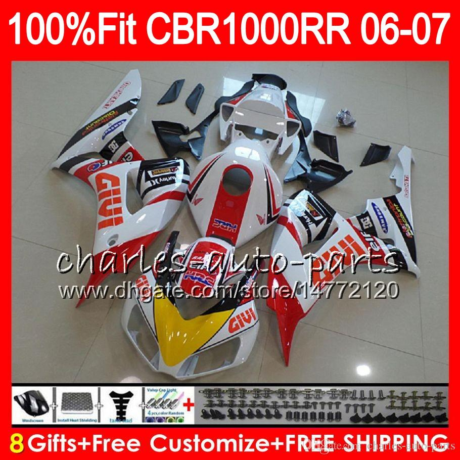 Injection Body For HONDA CBR 1000RR CBR1000 RR 06 07 white black Bodywork 78NO34 CBR1000RR 06 07 CBR 1000 RR 2006 2007 Fairing kit 100% Fit