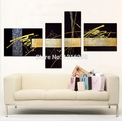 Black And Gold Wall Art discount handmade black gold silver modern abstract wall art oil