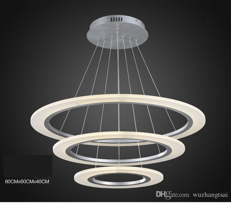 Luxury Modern Chandelier Led Circle Ring Chandelier Light: Modern Luxury Round Ring LED Pendant Lamp Diameter