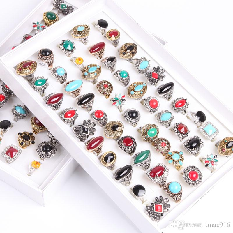 Wholesale Fashion bulk lot 50pcs mix styles metal alloy gem turquoise jewelry rings discount promotion
