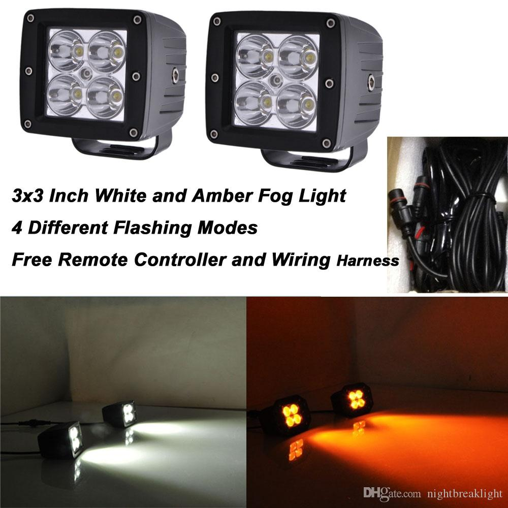 3x3 Inch 24w Spot Or Flood Led Pods White And Amber Color Changing Spotlights Wiring Harness Work Light Bar For 12v 24v Offroad Boat Truck Jeep Fog Working Lamp