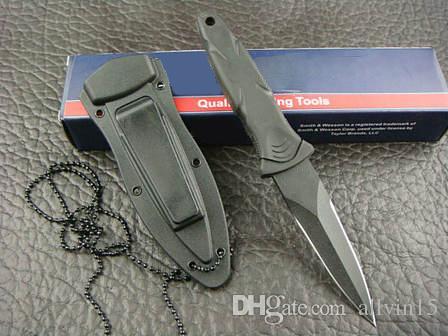 Özel teklifler SW HRT Çift KenarSiyah Bıçak Boot Hançer Bıçak w Kılıf w / klip bıçak avcılık Açık kamp Programı Sık Bıçaklar