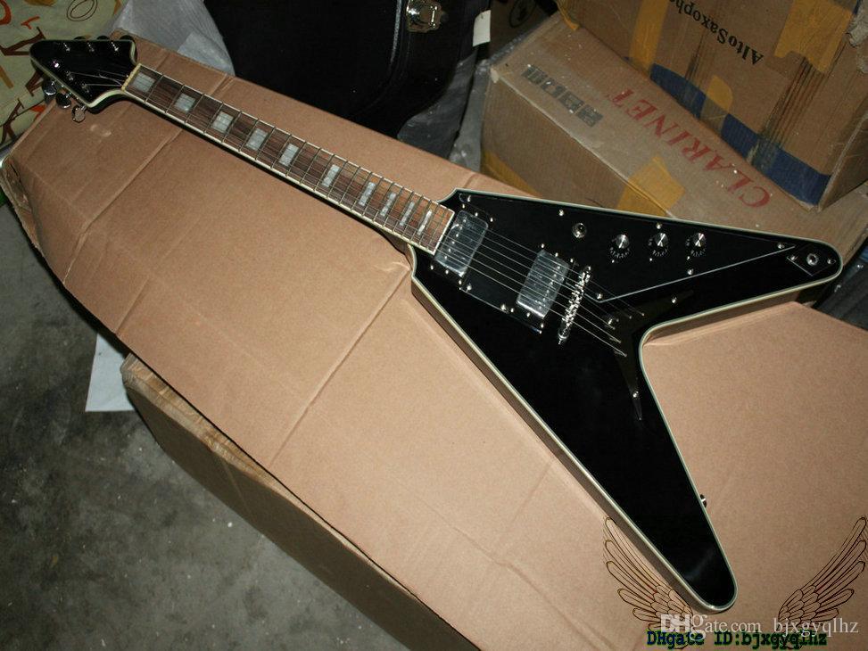 High Quality Guitars Newest Black Flying V Electric Guitar OEM Musical instruments