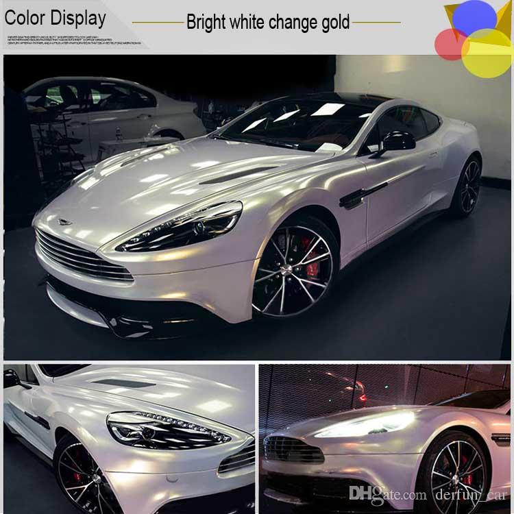 2018 White Glossy Metallic Vinyl Wrap Car Wrapping Film With Air
