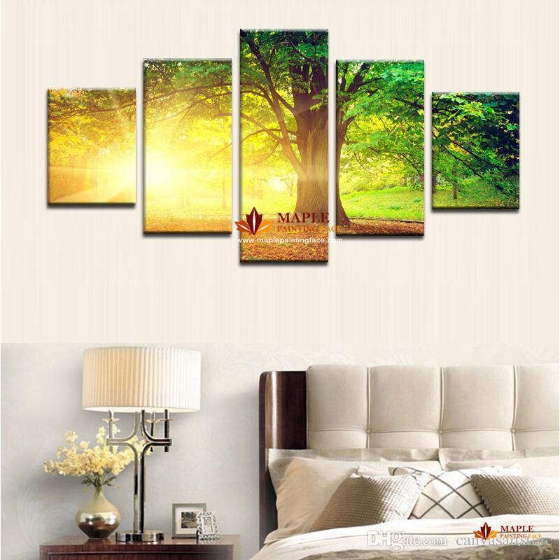 5 Panels Modern Abstract Art CanvasPrinted Sun Tree Painting Picture Cuadros Decoration Canvas Landscape Painting For Living Room No Framed