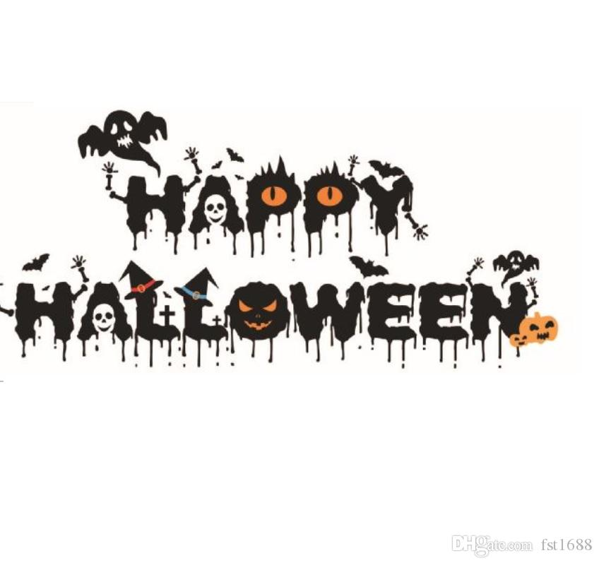 halloween festival crow little devil wall stickers ghost pumpkin happy halloween quote wall decals home decor for living room flower wall decals flower