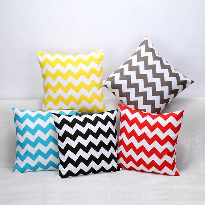 Sofa Cushion Covers Water Wave 45*45cm Cotton Square Cushions White Black  Yellow Red Blue Colorful Striped Home Decoration Pillow Cases Outdoor Throw  ...