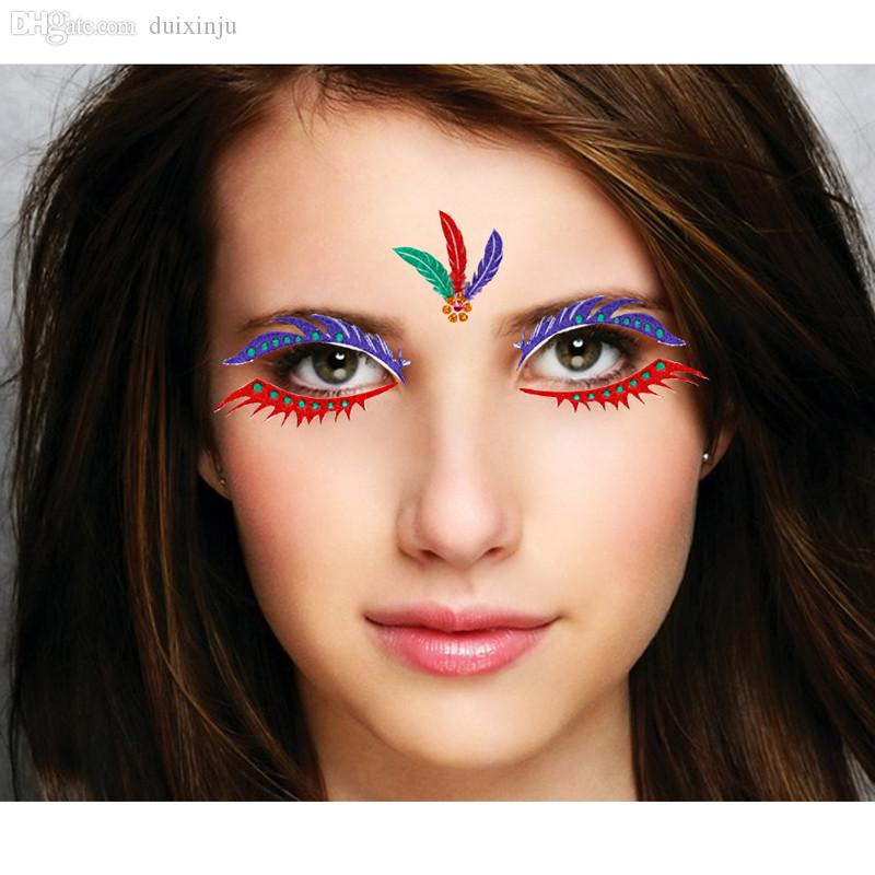 Wholesale Colorful Artistic Face Decoration Party Mask Halloween Costume Stickers  Face Temporary Tattoo Eye Shadow Stickers Be002 Eye Primer Eyeshadow For ...