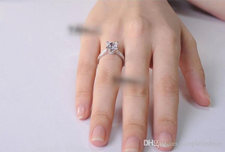 Vecalon 2016 الأزياء والمجوهرات الاشتباك خاتم الزواج للنساء 2ct تشيكوسلوفاكيا خاتم الماس 925 فضة أنثى باند البنصر
