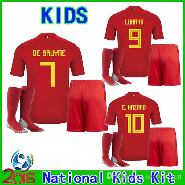 2018 World Cup Belgium Home Red Kids Kit LUKAKU E.HAZARD DE BRUYNE Soccer Jersey  2018 2019 Children Suit Boy Football Jersey+Shorts+Socks UK 2019 From ... 8c926ffb9