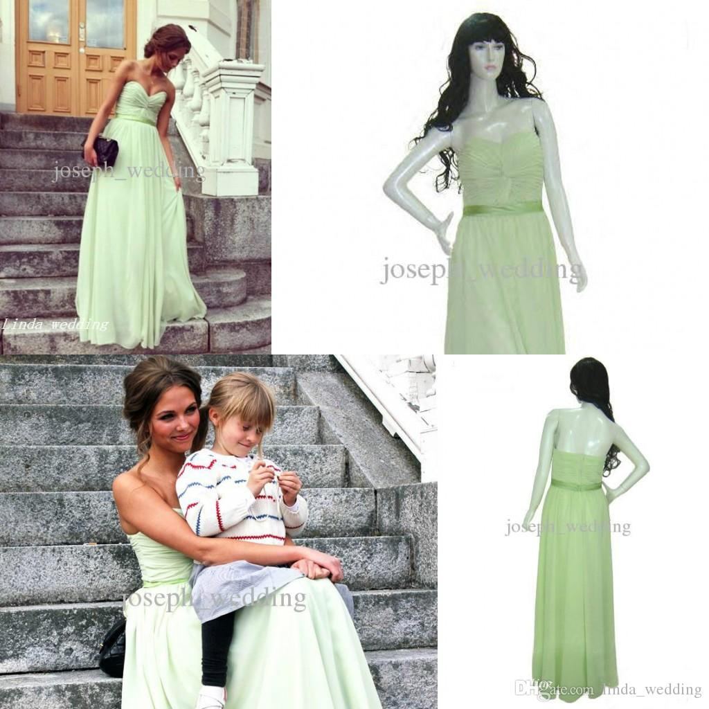 Großhandel Reales Foto Hellgrüne Chiffon Brautjunfer Kleid Qualitäts ...