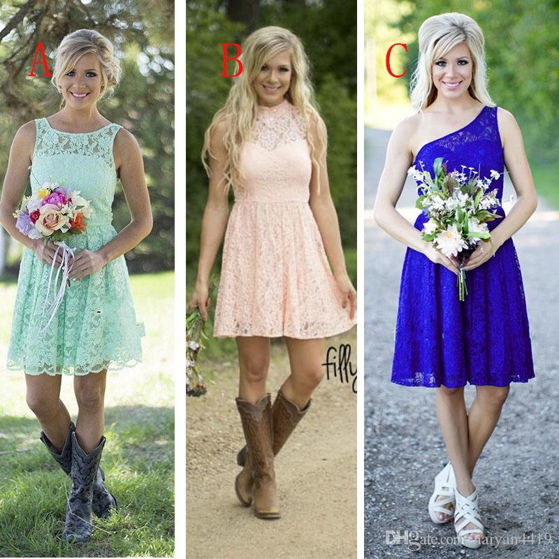 2016 Cheap Country Mint Green Pink Lace Short Mini Bridesmaid Dresses Formal Dress For Junior Adult For Weddings Party Convertible Dresses