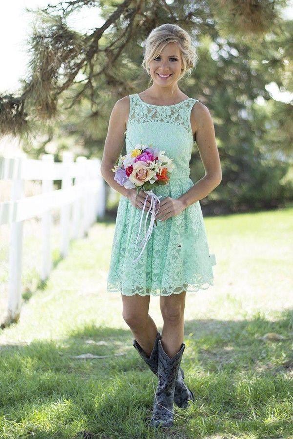 Abiti da festa di nozze di stile Paese d'epoca Breve Lace abiti da sposa Giallo Blu Blush Pink Beach Garden a buon mercato di alta qualità