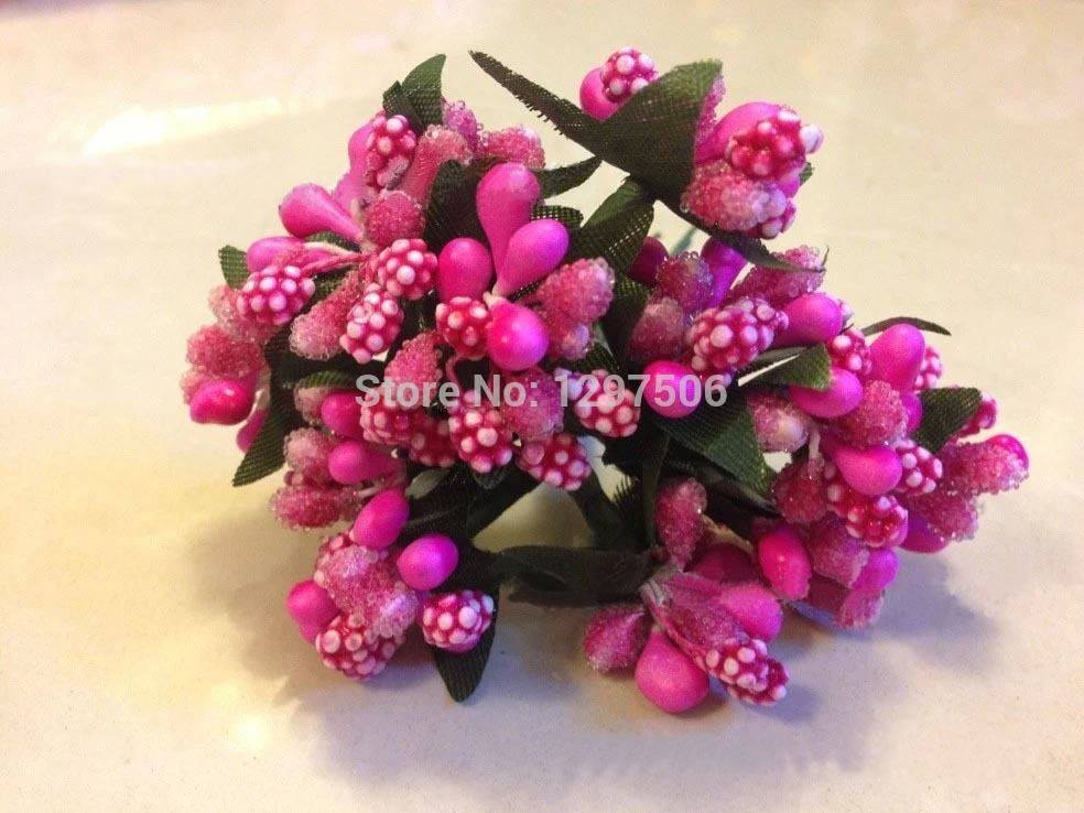 Glass Beads Flower Stamens With Leaves Artificial Mini Fruits