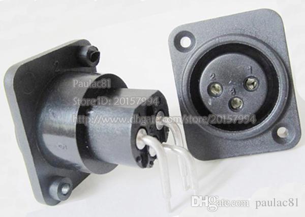 XLR 3Pin Femelle Jack Droite Coudé Connecteur Adaptateur Noir Couleur / Livraison Gratuite /