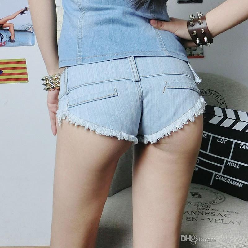 High Cut Sexy Denim Booty Kurze Shorts Vintage Cute Bikini Doppelt Taste Low Rise Taille Micro Mini Shorts Erotische Culb Wear