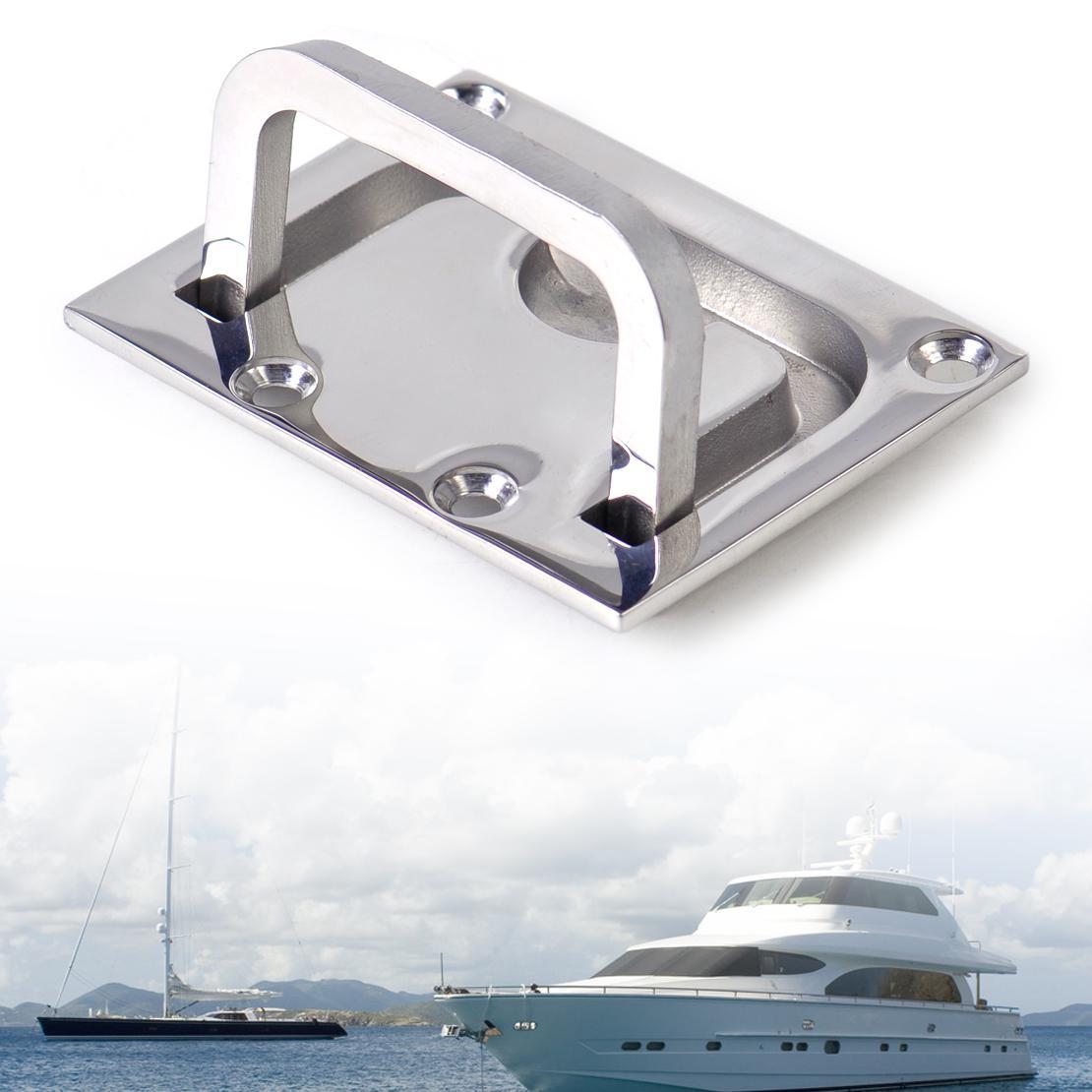 Wholesale- New Car 316 Stainless Steel Boat Marine Flush Hatch Locker  Cabinet Lift Pull Handle Boat Hatch Handle 7 5 x 5 5 cm Flush Mount