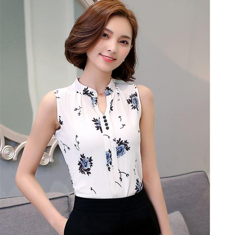 613643684 2019 Blusas Femininas 2016 New Fashion Summer Chiffon Blouse Women Printed  Sleeveless Blouse Floral Print Blouses Shirts Office Shirt From Akaya