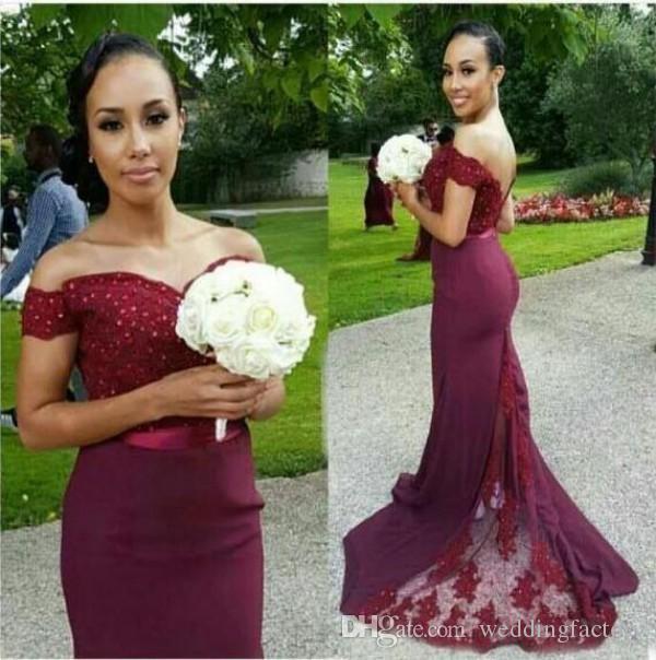 Dama de honra elegante Vestidos fora do ombro Backless Long Formal Casamento Festa de Casamento de Honra Vestidos Frisados Lace Appliques Vestido