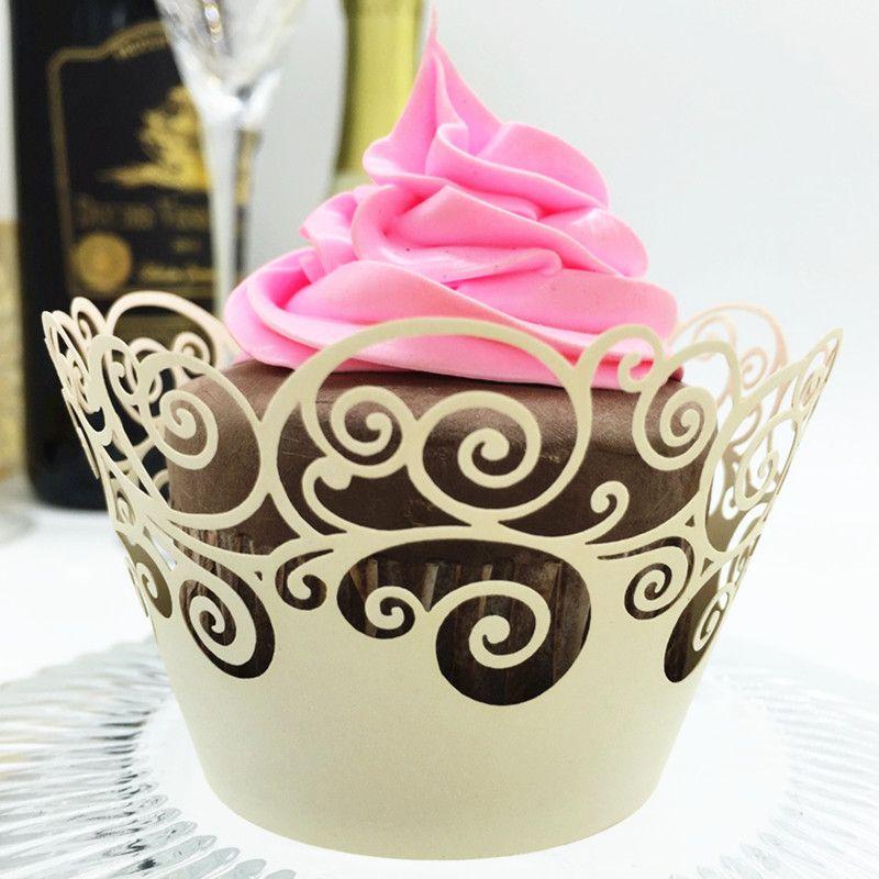 Marfil Cupcake Papel Hollow Lace Vine Cupcake Wrapper Muffin Wrap Wedding Party Liner Decor Envío Gratis