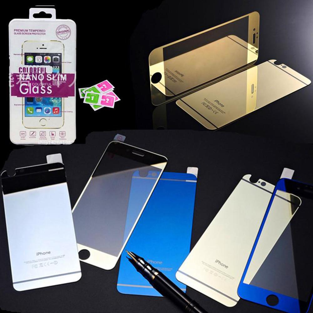 For iPhone ful Tempered Glass Full Body Screen Protectors Mirror Front And Back Colorful Film For Iphone 6 plus Apple Phone 5