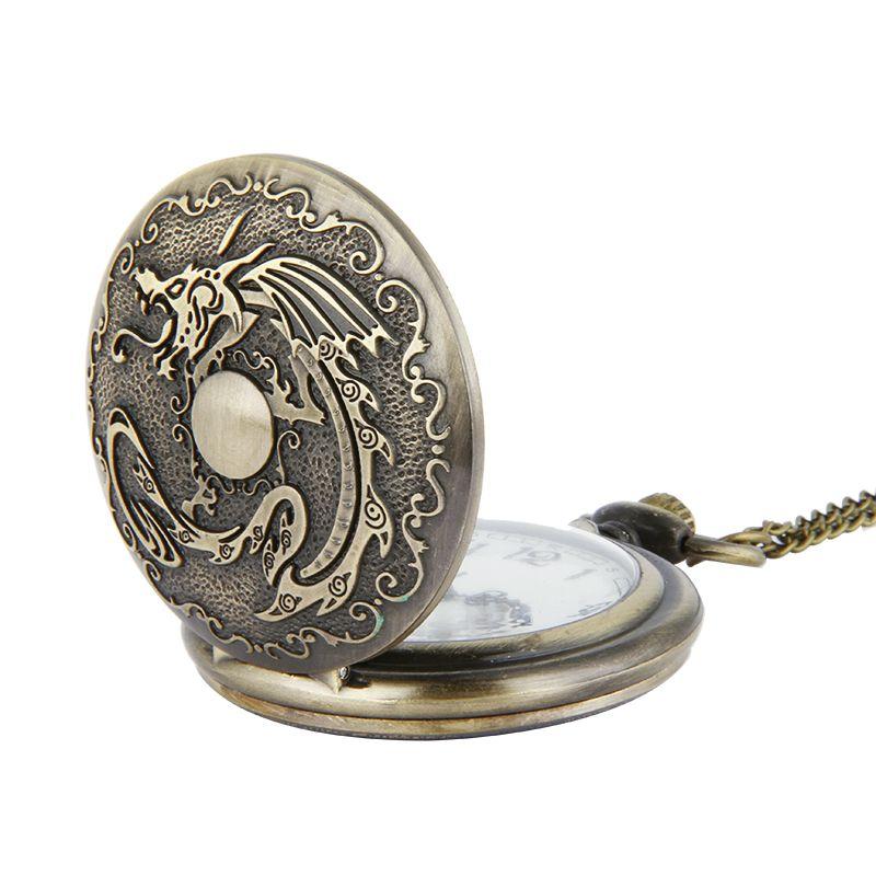 Unique Large Dragon Ball vintage Pocket Watch Bronze pendant necklaces Fob Watches Quartz Watches Men Women Punk jewelry Christmas Gifts