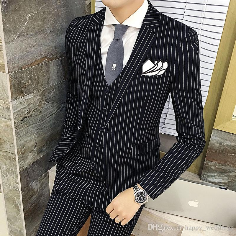 2017 Mens Striped Suit 2017 Fall Winter Wedding Groom Suit Black ...