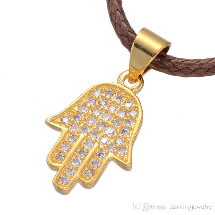 Hamsa Hand Pendant Women/Men Lucky Jewelry Gift Trendy Silver Gold Rose Gold Plated Rhinestone Palm Hand of Fatima Pendant Necklaces