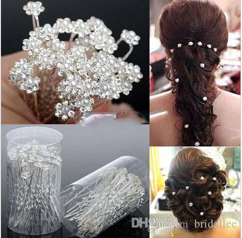 2016 Wedding Accessories Bridal Pearl Hairpins Flower Crystal Rhinestone Diamante Hair Pins Clips Bridesmaid Women Hair Jewelry 40 pcs/Lot