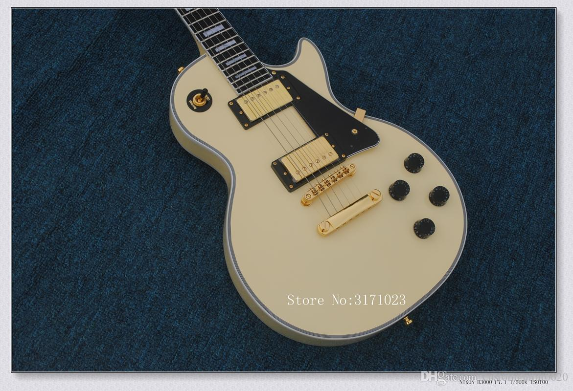 Venta caliente Custom Shop Randy Rhoads Rosewood / Ebony Fingerboard Cream Yellow Electric Guitar Hardware de oro Envío gratis