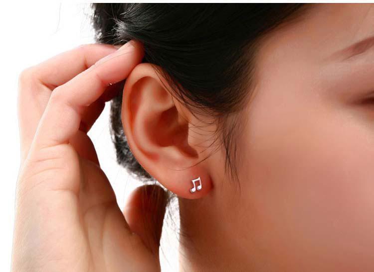 Note de musique boucles d'oreilles pour les femmes 3 couche superposition d'or blanc 30% 925-Sterling-Silver Dormeuses pour les femmes Bohème bijoux