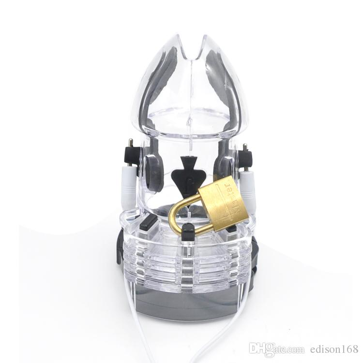2017 Mâle PC Électrique Impulsion De Choc Stimuler Cock Cage Wit Réglable Pénis Anneau Bondage Chastity Dispositif Verrouillage Adulte BDSM Sex Toy 3 Couleur A175