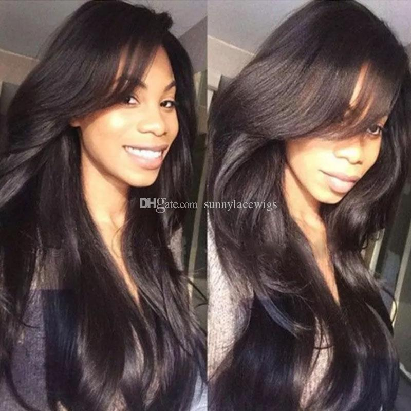 Short Brazilian Lace front Wigs For Black Women Side Bangs Natural Straight Long Human Hair Wigs Glueless Full Lace Wig With Baby Hair