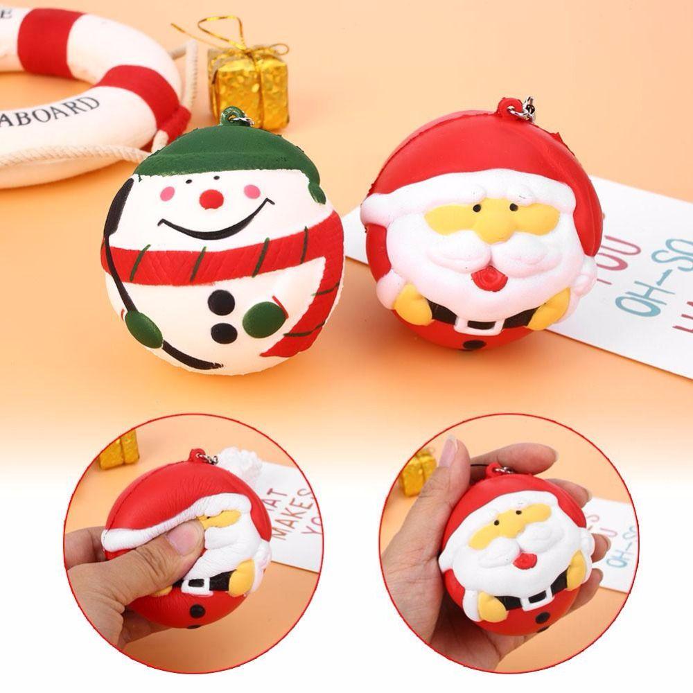 best quality jumbo squishy slow rising santa claussnowman kawaii cute animal sweet scented charms bread cake kid christmas toy doll gift fun at cheap price - Santa Snowman