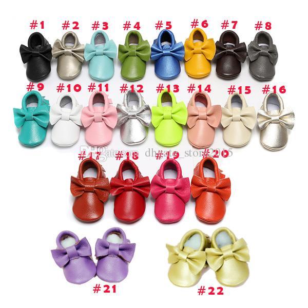22 Cor mocassins Bebê sola macia 100% genuíno couro primeiro walker sapatos bebê recém-nascido arco vaca sapatos Borlas maccasions sapatos
