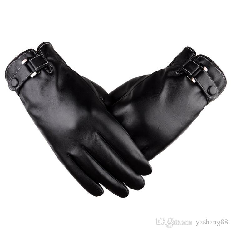 Men's touch screen gloves simulated washable leather gloves autumn winter PU plus cashmere thickening winter driving gloves