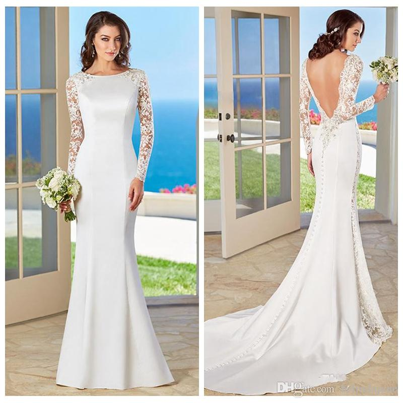 V Shape Back Full Lace Long Sleeves Mermaid Wedding Dresses 2016