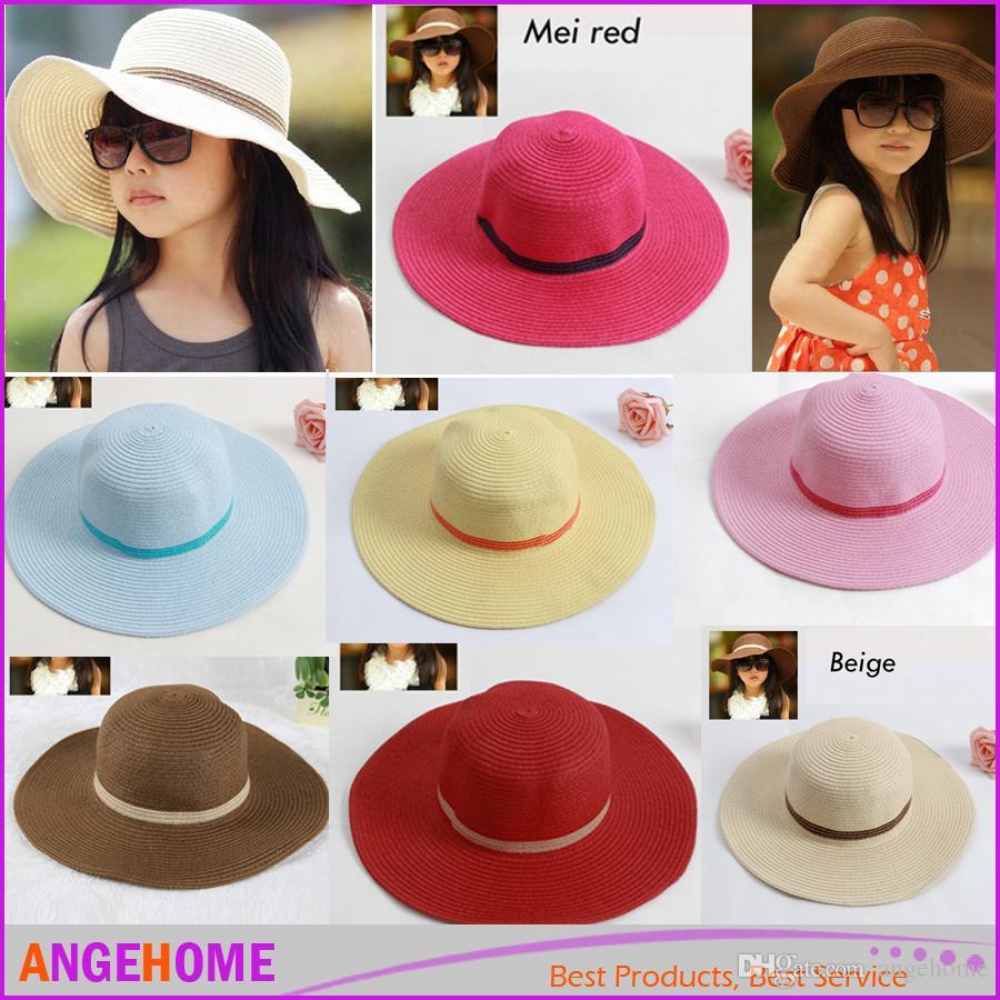 82da4c84 2016 Hot Style Baby Girl Straw Sun Hats Sunhats Summer Beach Hats ...
