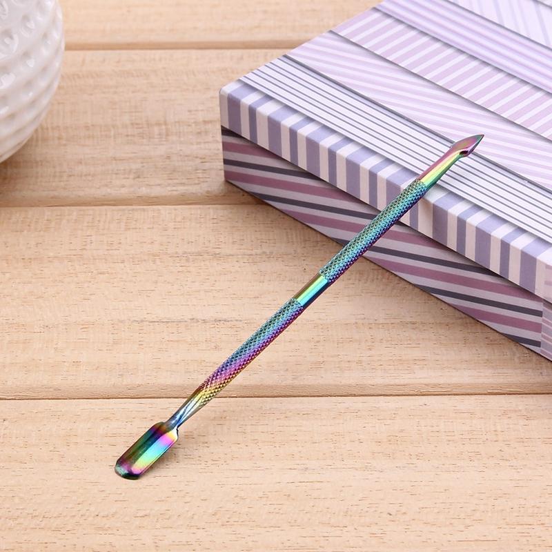 1 قطعة الفولاذ المقاوم للصدأ دافعات بشرة المرأة سيدة rainbow المزدوج نهاية إهاب أداة انتهازي مسمار الفن النظيف أداة مانيكير أدوات العناية