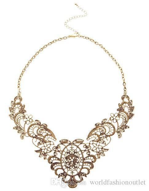 Hohle Anweisung Bib Choker Ketten Anhänger klobige Halskette Partei Schmuck Antik Bronze vergoldet Blume Luxus Retro Vintage Schmuck frei DHL