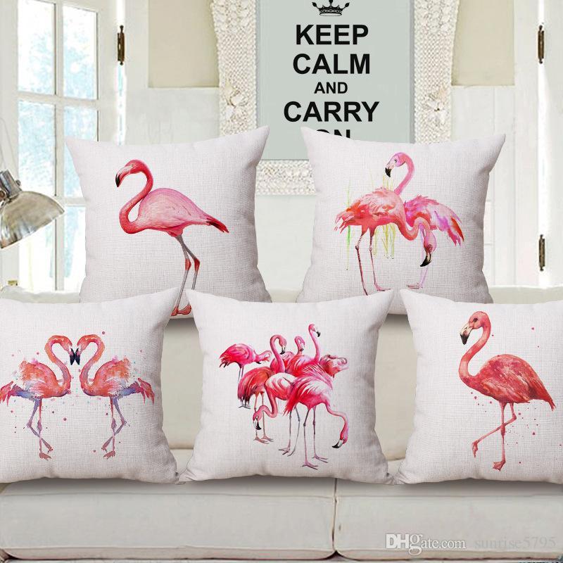 Home Textile Pink Flamingo Cushion Cover Animals Pattern Linen Pillow Case Car Sofa Throw Pillows Decorative Almofada Cojines 45x45cm Handsome Appearance Home & Garden