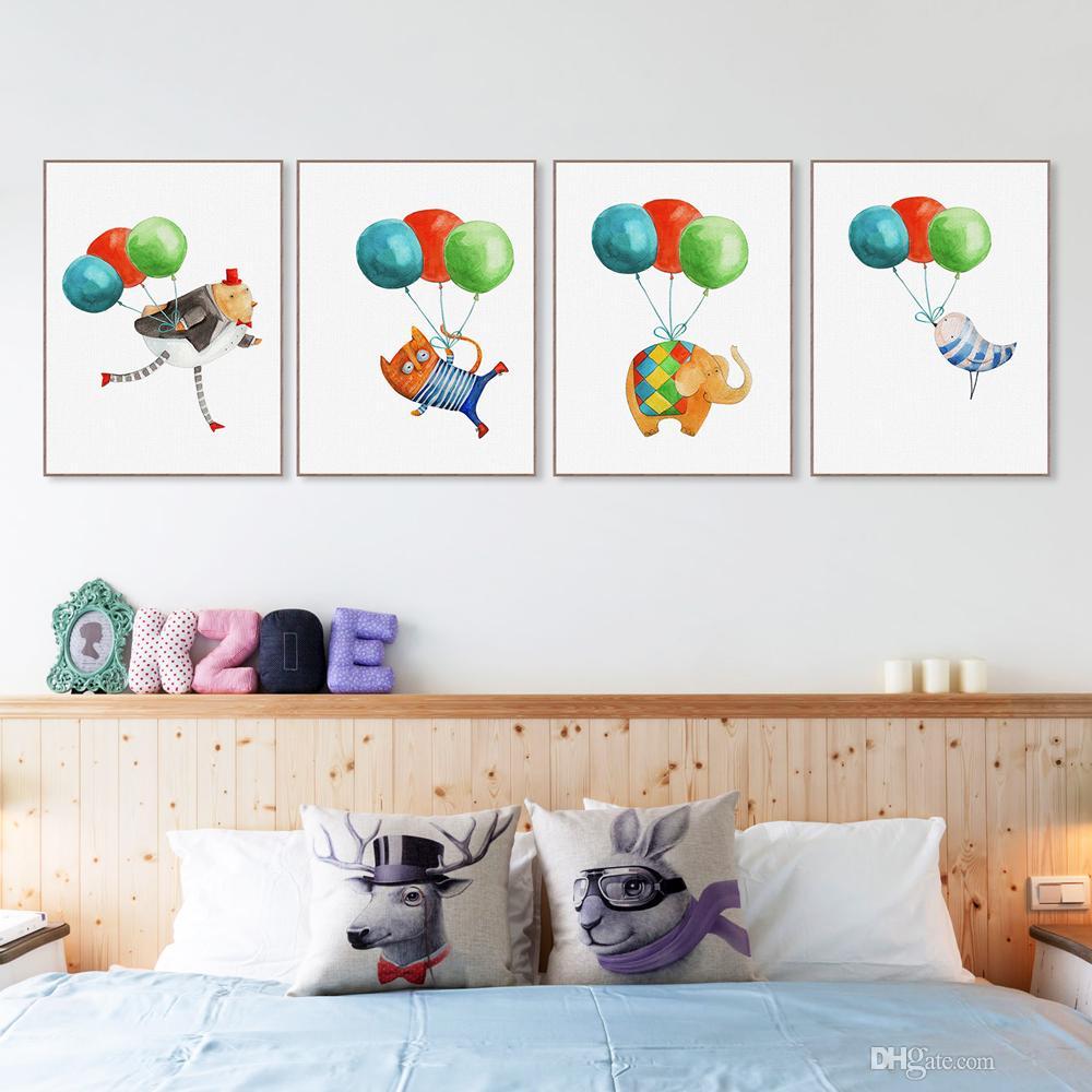 Красочный Воздушный Шар Kawaii Хиппи Животных Кошка Собака Плакат Nordic Детская Комната Стены Искусства Печати А4 Картина Home Decor Холст Картины Без Рамки
