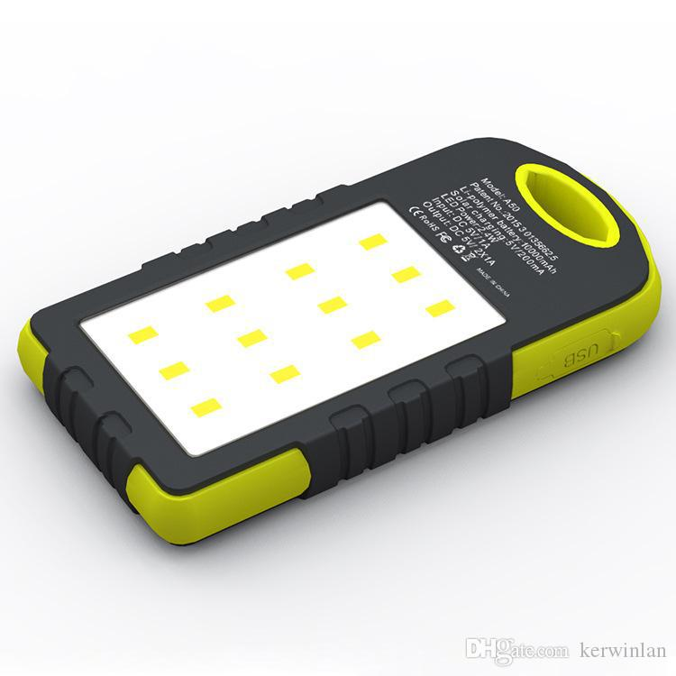 새로운 유니버설 8000mAh 태양열 충전기 태양 전원 은행 방수 태양 전지 패널 배터리 충전기 듀얼 USB LED 캠핑 램프