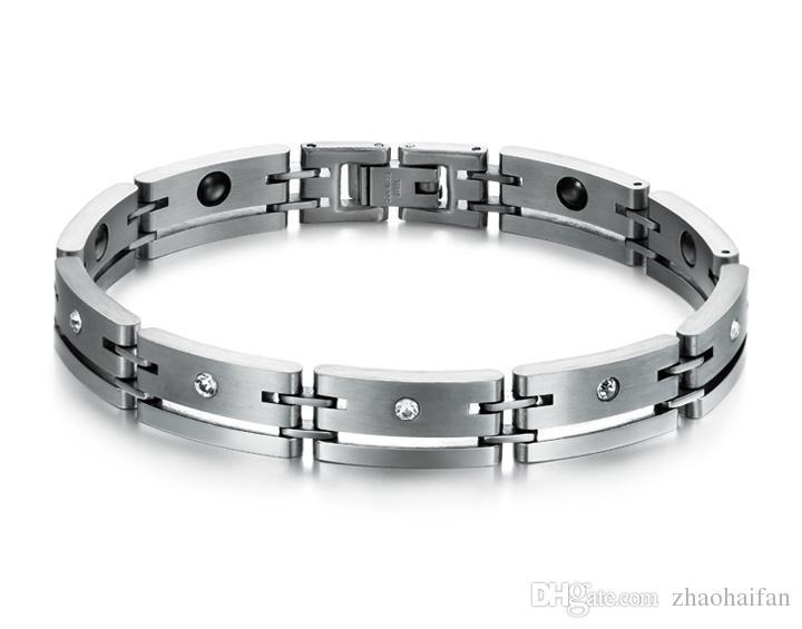 ZHF BIJOUX Mens Aimant Bracelets 316L En Acier Inoxydable Bracelets 2016 Nouveau Équilibre Sain Énergie Magnétique Bracelet Bijoux GS3400