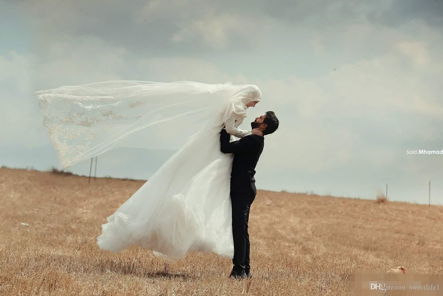 2019 عربي مسلم فساتين الزفاف ألف خط سعيد محمد الرباط الشتاء أثواب الزفاف طويلة الأكمام الرقبة العالية الغرب الأوسط الباكستاني العباءة