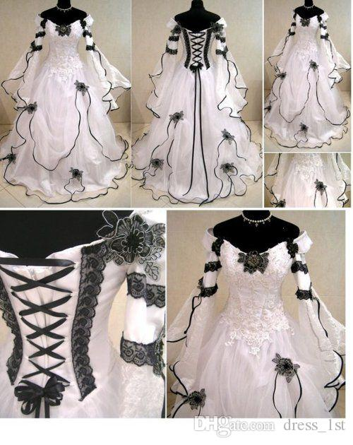 Vintage 2019 Gothic Black And White Wedding Dresses Cheap Off Shoulder Julie Long Sleeves Appliqued Lace Organza Victorian Bridal Gowns