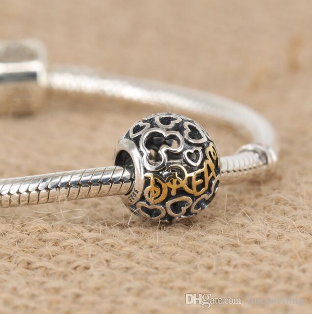 HYWo Brands Disny Heart Dream Beads يناسب باندورا سحر سوار الخرز ديي 925 فضة 14 كيلو الذهب الحقيقي والمجوهرات بالجملة