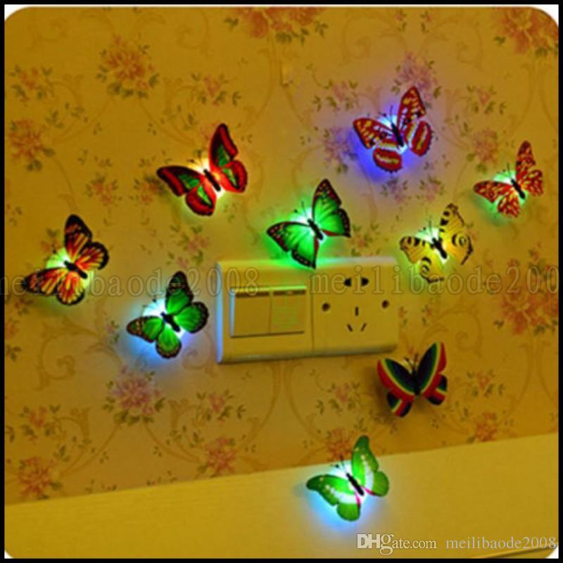 Colorido Mudando Borboleta LED Night Light Lamp Home Room Decoração Da Parede Da Mesa Do Partido LLWA199