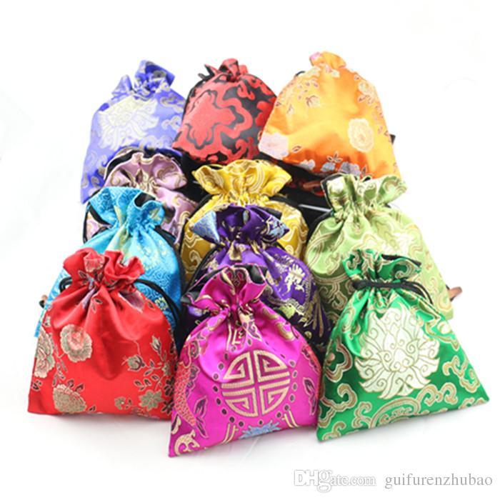 حقائب فاخرة كبيرة مجوهرات الصينية الحرير القطيفة الحقيبة سوار هدية حقيبة كرافت ماكياج الرباط حقيبة اليدوية القماش مع اصطف 16x19 سم مل / لتر